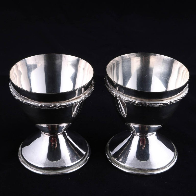 Bohemian Pair of Georg Jensen School Silver Plate Marriage Chalice Cups, P&J For Sale 1