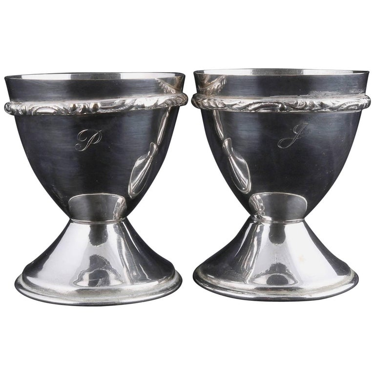 Bohemian Pair of Georg Jensen School Silver Plate Marriage Chalice Cups, P&J For Sale