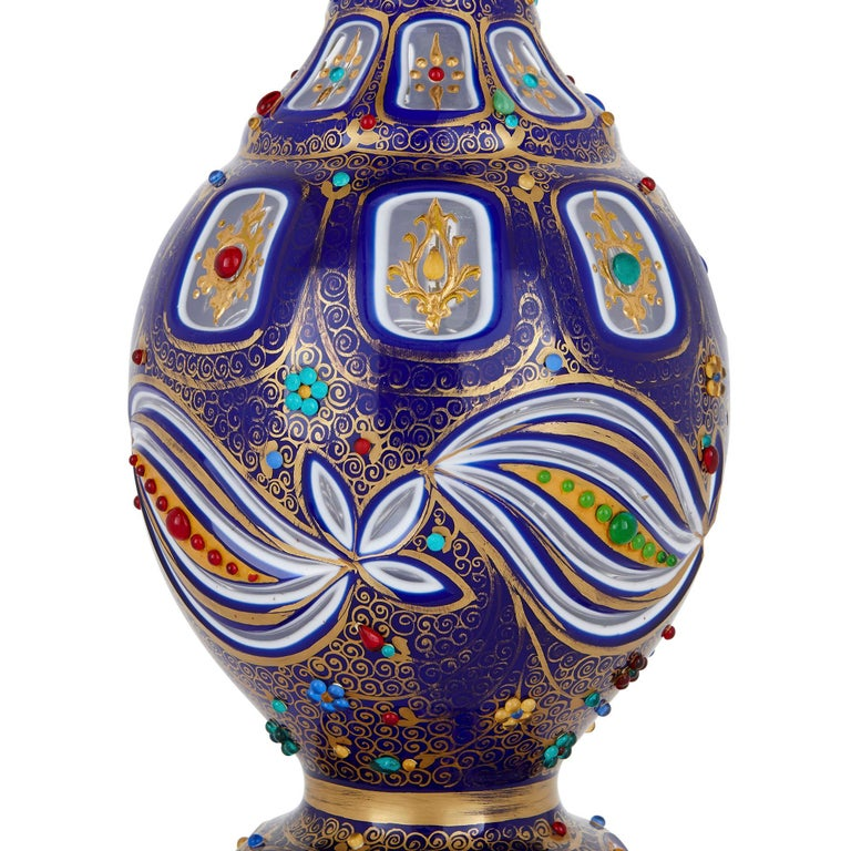 Czech Bohemian Parcel Gilt and Enamelled Blue Overlay Glass Jug For Sale
