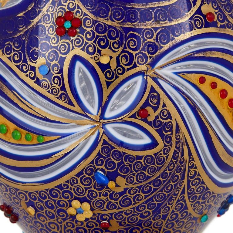 Enameled Bohemian Parcel Gilt and Enamelled Blue Overlay Glass Jug For Sale