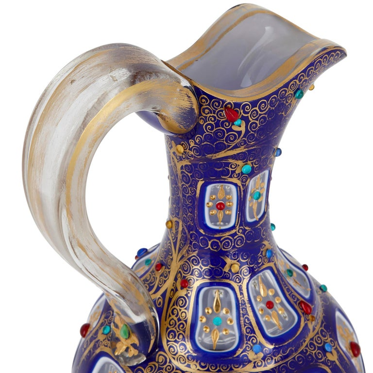 19th Century Bohemian Parcel Gilt and Enamelled Blue Overlay Glass Jug For Sale