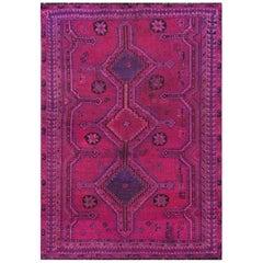 Bohemian Persian Qashqai Pink Handmade Vintage Distressed Natural Wool Rug