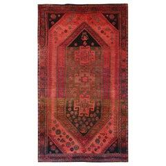 Bohemian Persian Qashqai Vintage Worn Down Handmade Wool Gallery Size Runner Rug