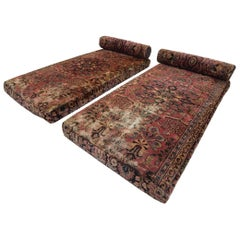 Bohemian Persian Rug Upholstered Day Bed Cushions with Bolsters