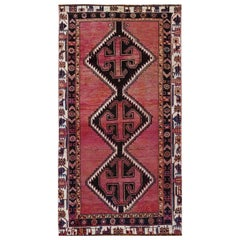 Bohemian Persian Shiraz Vintage Worn Down Wool Handmade Gallery Size Runner Rug