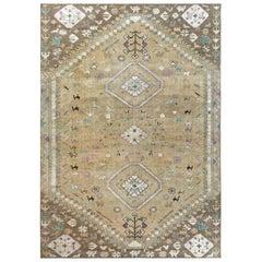 Bohemian Persian Shiraz Wool Beige Semi Antique Distressed Handmade Rug