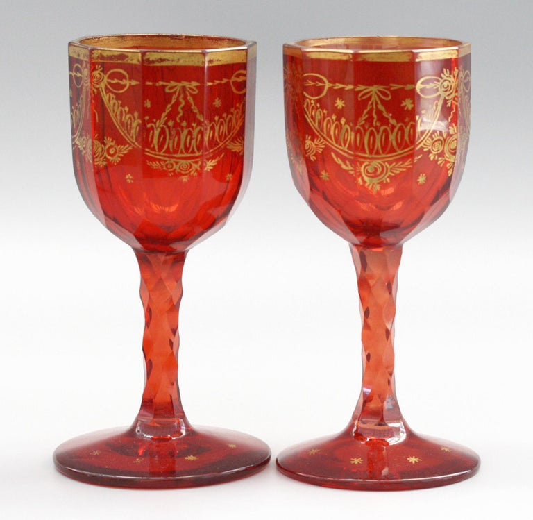 Bohemian Rare Set Eight Ruby Gilded and Facet Cut Georgian Wine Glasses For Sale 4