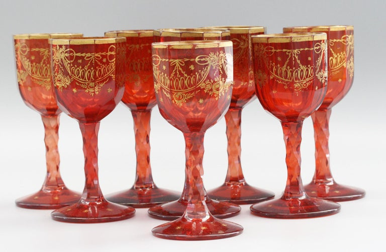 Bohemian Rare Set Eight Ruby Gilded and Facet Cut Georgian Wine Glasses For Sale 7