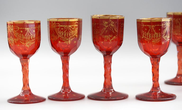 Bohemian Rare Set Eight Ruby Gilded and Facet Cut Georgian Wine Glasses For Sale 9