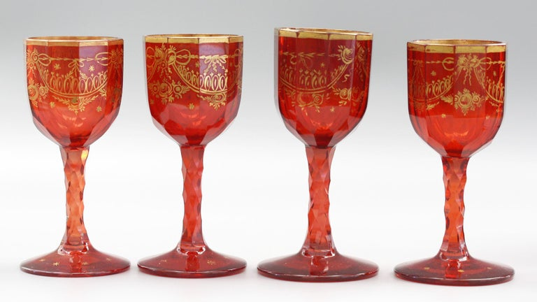 Bohemian Rare Set Eight Ruby Gilded and Facet Cut Georgian Wine Glasses For Sale 10