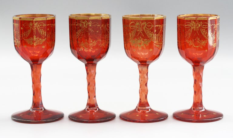 Czech Bohemian Rare Set Eight Ruby Gilded and Facet Cut Georgian Wine Glasses For Sale