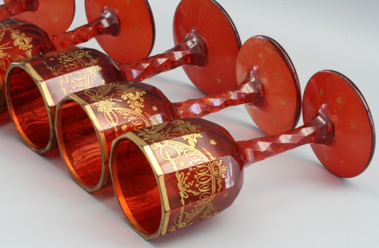 Blown Glass Bohemian Rare Set Eight Ruby Gilded and Facet Cut Georgian Wine Glasses For Sale