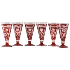Bohemian Rare Set Six Red Flash Overlay Cordial Glasses