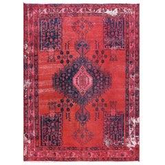 Bohemian Red Persian Hamadan Hand Knotted Vintage Worn Down Wool Rug
