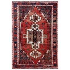 Bohemian Red Persian Shiraz Vintage Worn Down Natural Wool Handmade Rug