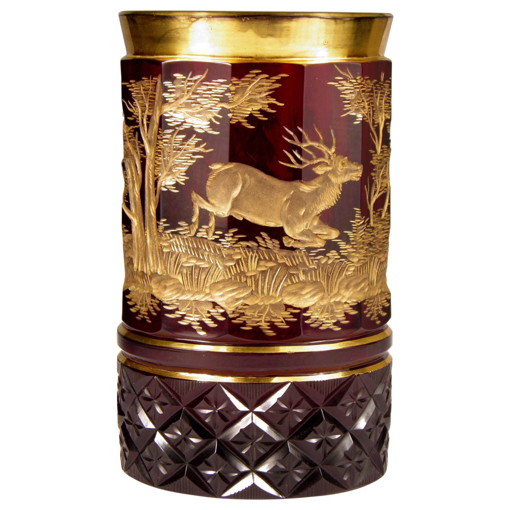 Bohemian Ruby Gilded Glass Goblet Hunting Motive