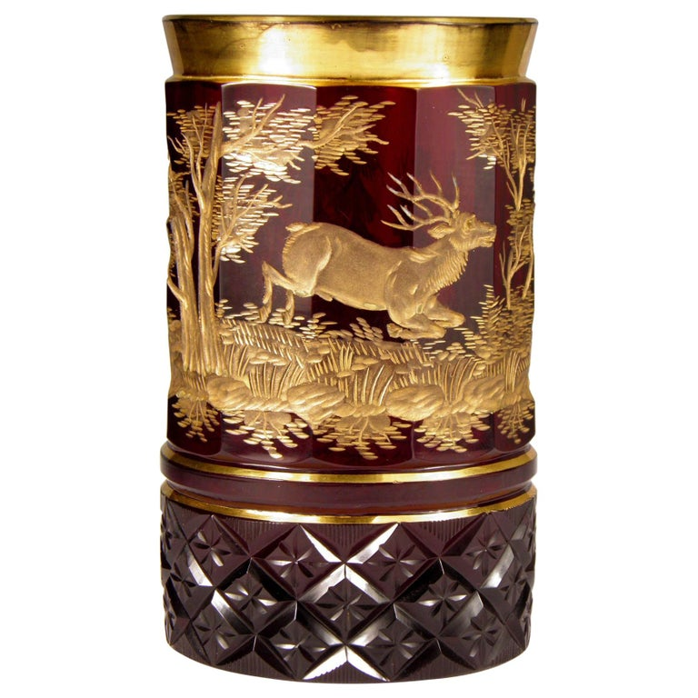 Bohemian Ruby Gilded Glass Goblet Hunting Motive For Sale
