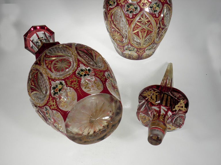 European Antique Bohemian Ruby Glass Decanters Persian Islamic Style Carafe For Sale