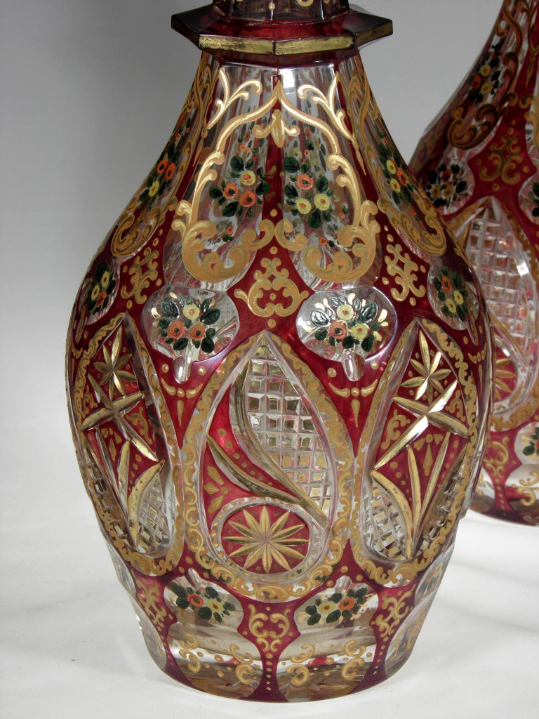 Engraved Antique Bohemian Ruby Glass Decanters Persian Islamic Style Carafe For Sale