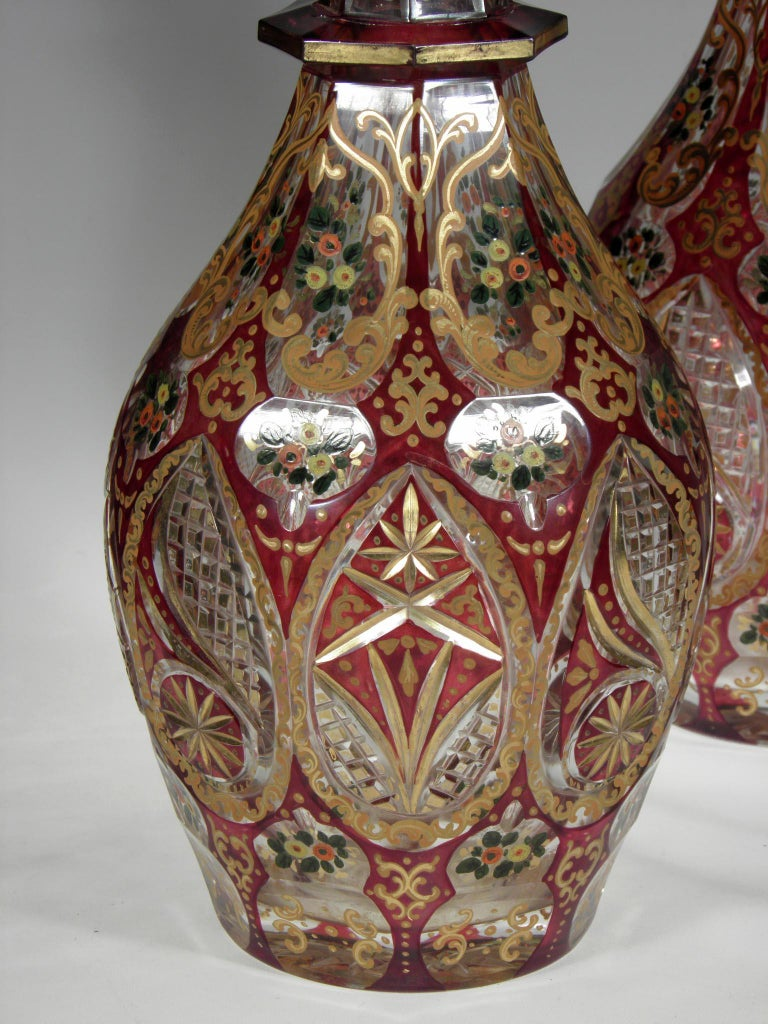Antique Bohemian Ruby Glass Decanters Persian Islamic Style Carafe In Good Condition For Sale In Nový Bor, CZ