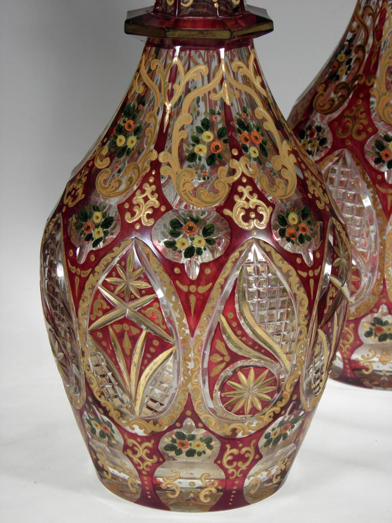 19th Century Antique Bohemian Ruby Glass Decanters Persian Islamic Style Carafe For Sale