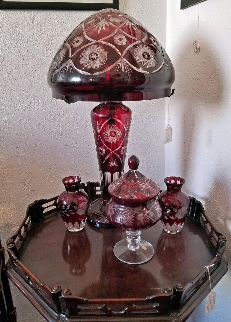 Bohemian Ruby Red Cut to Clear Crystal Table Lamp For Sale 6