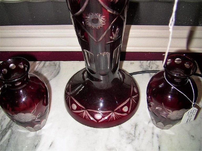 Bohemian Ruby Red Cut to Clear Crystal Table Lamp For Sale 3