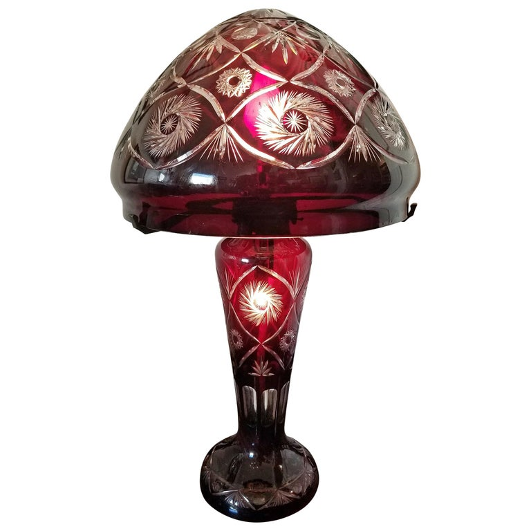 Bohemian Ruby Red Cut to Clear Crystal Table Lamp For Sale