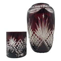 Bohemian Ruby Red Cut to Clear Crystal Vase and Whiskey Glass
