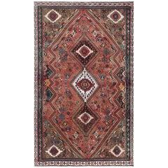 Bohemian Rust Red Persian Qashqai Vintage Worn Down Wool Handmade Rug