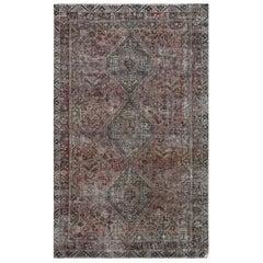 Bohemian Semi Antique Persian Qashqai Sheared Low Wool Handmade Rug