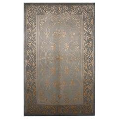 Bohemian Silk Rug Handwoven Grey Gold Carpet Area Rug