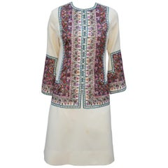 Bohemian Style Embroidered Wool Dress, 1960's