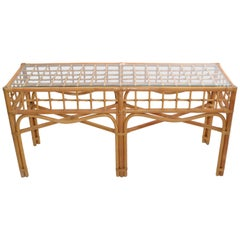 Bohemian Style Handcrafted Bent Bamboo and Rattan Console Table with Glass Top