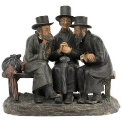 Bohemian Terracotta Sculpture of Three Jews