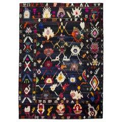 Contemporary Turkish Tulu-Inspired Multicolor Wool Rug