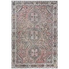 Bohemian Vintage Persian Shiraz Distressed Natural Wool Handmade Rug