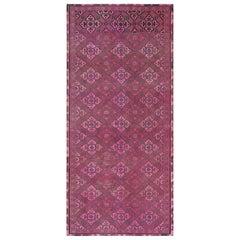 Bohemian Vintage Worn Down Persian Shiraz Handmade Wool Gallery Size Runner Rug