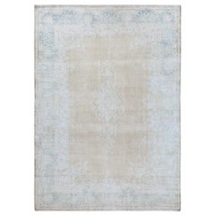 Bohemian White Wash Persian Kerman Old Cropped Thin Pile Wool Hand Knotted Rug