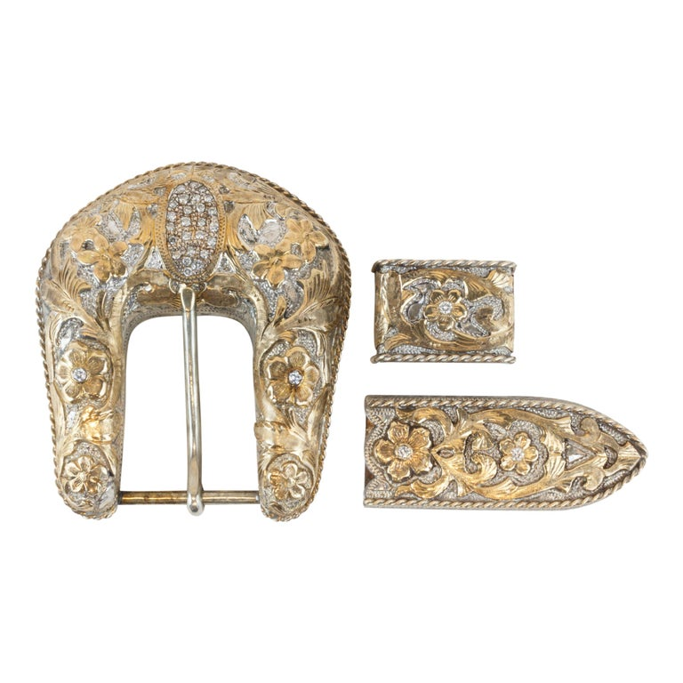 Bohlin Gold, Diamonds and Sterling Buckle Set For Sale
