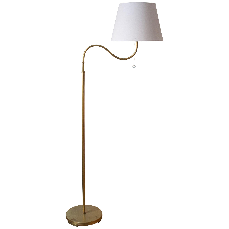 Böhlmarks 'attribution' Adjustable Floor Lamp, Brass, Fabric, Sweden, 1940s