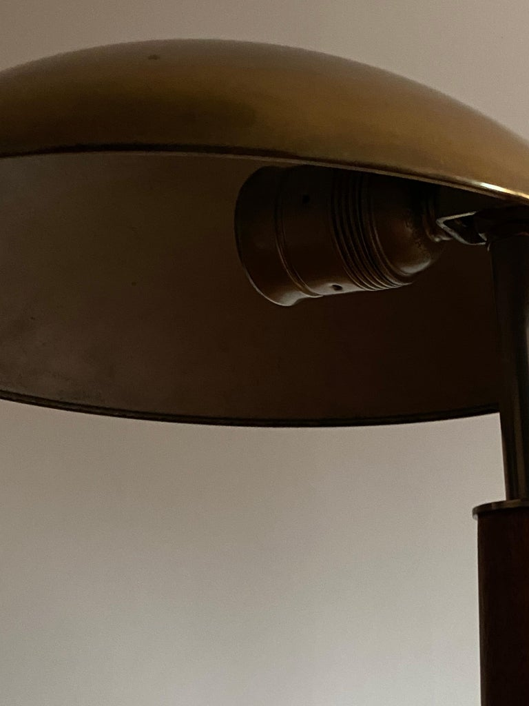 Mid-20th Century Böhlmarks 'Attribution' Adjustable Table Lamp, Brass Steel Stained Wood For Sale