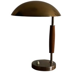 Böhlmarks 'Attribution' Adjustable Table Lamp, Brass Steel Stained Wood