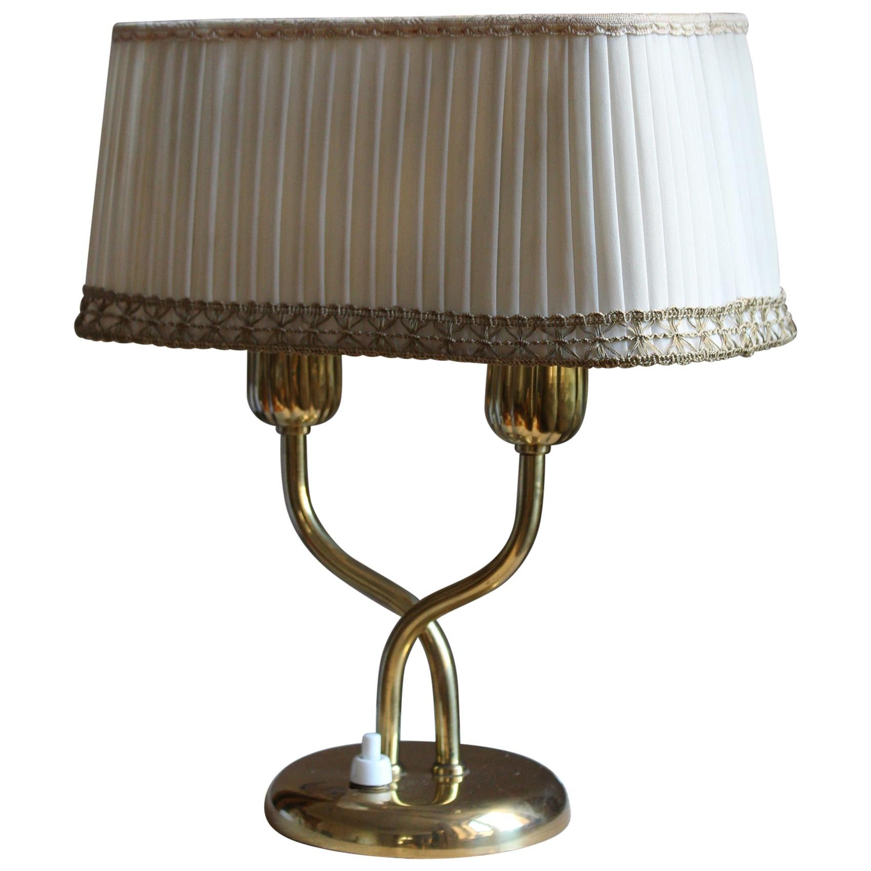 Böhlmarks, Organic Table Lamp, Brass, Fabric, Sweden, 1940s