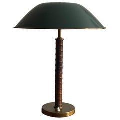 Böhlmarks, Table Lamp Brass, Natural Leather, Green Lacquered Steel, circa 1940
