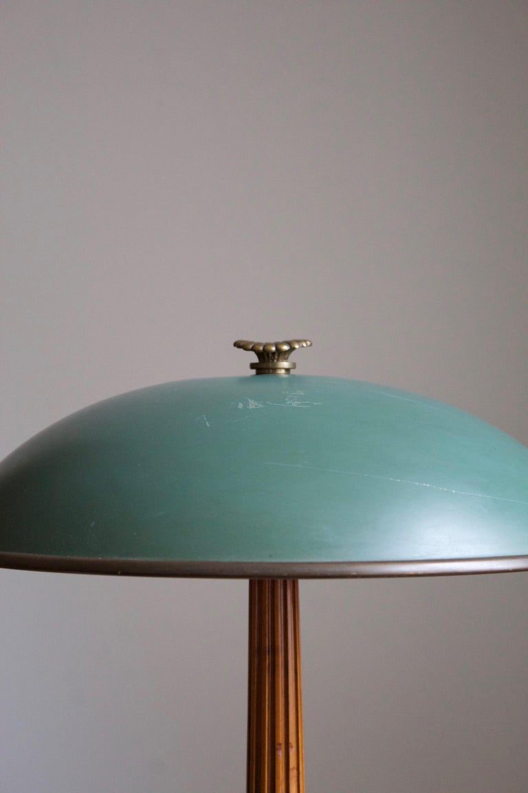 Swedish Böhlmarks, Table Lamp Brass, Stained Elm, Lacquered Steel, 1935 For Sale