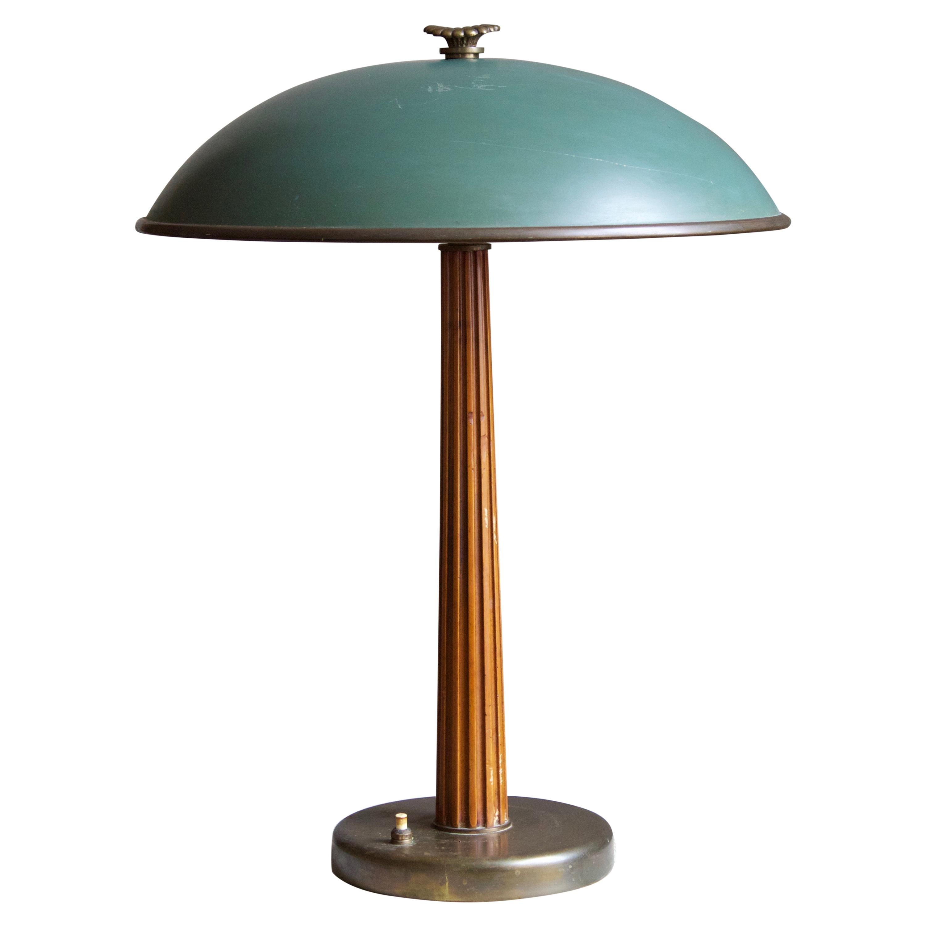 Böhlmarks, Table Lamp Brass, Stained Elm, Lacquered Steel, 1935