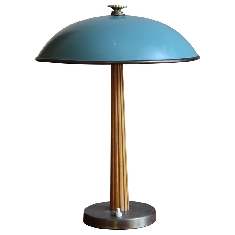 Böhlmarks, Table Lamp Brass, Stained Elm, Lacquered Steel, circa 1940 For Sale