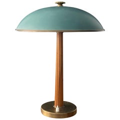 Böhlmarks, Table Lamp Brass, Stained Elm, Torquise Lacquered Steel, circa 1940