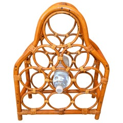 Boho Chic Bamboo and Rattan Nine Bottle Wine Rack, Wine Storage, Wine Basket